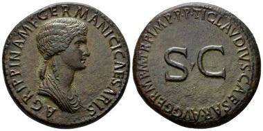 Lot 577: Agrippina Senior, mother of Gaius. Sestertius, circa 50-54. Starting Bid 900 GBP.