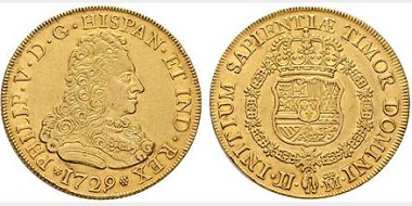 Lot 4001: Felipe V. Madrid. 8 escudos. 1729. Starting price: 12,000 euros.