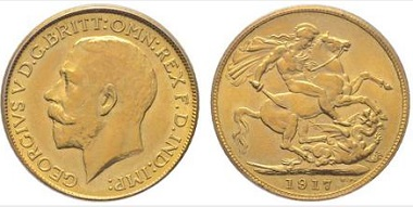 Lot 5002: Great Britain. George V. 1917. Encapsulated PCGS MS62 (old slab). Starting price: 4,000 euros.