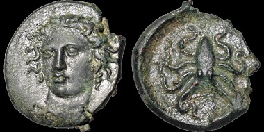 Auction 37 Lot 15: Sicily. Syracuse. Time of Dionysios I. 405-367 B.C. AE tetras. 2.07 gm. 14 mm. Dies attributed to Exakestidas. Exquisite style. Estimate: $1,750.