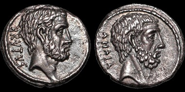 Auction 37 Lot 43: Roman Republic. Q. Servilius Caepio (M. Junius) Brutus. 54 B.C. AR denarius. Estimate: $1,500.