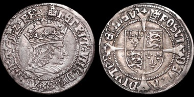 "Auction 37 Lot 143: Henry VIII. 1509-1547. AR groat (Unique pattern). Struck from a die originally prepared for Tournai groat. Ex Carlyon-Britten. Includes tag by C.B. describing issue. He considers this a unique pattern. This piece illustrated on plate XIII accompanying Whitton's article in The British Numismatic Journal, 1950. Whitton notes ""It may justly be called a trial piece."" Estimate: $9,000."