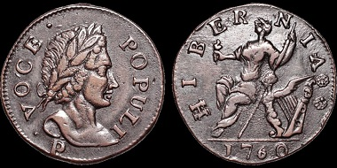 Auction 37 Lot 301: Ireland/Colonial America. Voce Populi coinage. AE halfpenny. Estimate: $750.