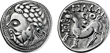 Nr. 2009: Celts on the Danube. Imitation of a tetradrachm by Philipp II of Macedon. Estimate: EUR 1.600,-.