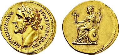 Nr. 2486: Römisches Kaiserreich. Antoninus Pius. 138-161 n. Chr. Aureus. Taxe Euro 14.000,-