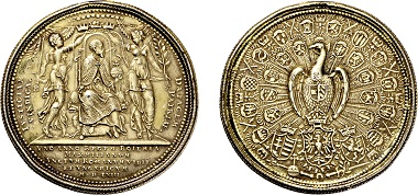 "Nr. 3324: Habsburgische-Kron und Erblande. Maximilian II. 1564-1576. Medaille 1563, sog. ""Pfauentaler"". Taxe Euro 3.500,-."