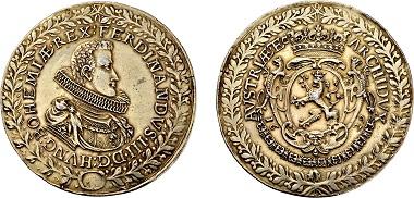 Nr. 3344: Habsburgische-Kron und Erblande. Ferdinand III. 1637-1657. Breiter 3facher Schautaler 1629. Taxe Euro 7.500,-.