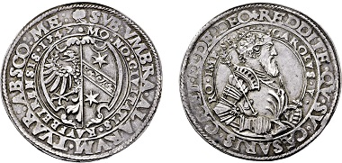 No. 3503: Free imperial city Kaufbeuren. 1 1/2 Taler 1547. Estimated 15,000,- euros.