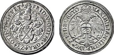Nr. 3609: Grafschaft Öttingen. Friedrich V. und Gottfried. 1572-1576. Guldentaler 1572. Taxe Euro 10.000,-.