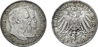 Nr. 3920: Königreich Bayern. Ludwig III. 1913-1918. 3 Mark 1918 D auf die Goldene Hochzeit. Taxe Euro 20.000,-.