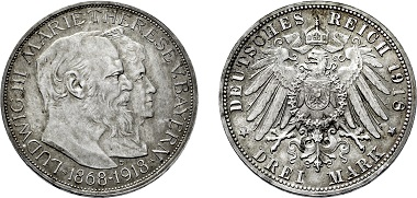 No. 3920: Kingdom Bavaria. Louis III. 1913-1918. 3 Mark 1918 D on the golden wedding anniversary. Estimated 20,000,- euros.