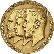 Russland. Nikolaus II., 1894-1917. Goldmedaille 1903, unsigniert, von A. Vasyutinsky, auf die Vollendung der Brücke über die Newa. Äußerst selten. Vorzüglich. Taxe: 80.000,- Euro. Aus Auktion Künker 302 (1. Februar 2018), Nr. 1623.