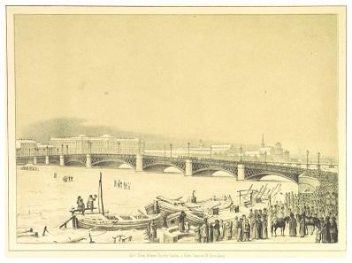 The bridge over the Neva. Image from 1853.