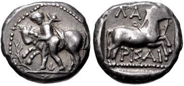 Lot 22: Thessaly. Larissa. Drachm, circa 450/40-420 BC. VF. Estimate: 100,- USD.