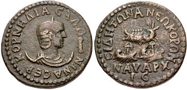 Lot 265: Pamphylia, Side. Salonina. Augusta, AD 254-268. 10 Assaria. VF. Estimate: 150,- USD.