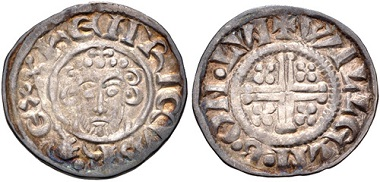 Lot 720: Plantagenet. John. 1199-1216. Penny. Short Cross type. VF. Estimate: 100,- USD.