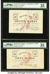 Lot 28312: German New Guinea Australian Occupation WW1 5; 10; 20; 50 Marks 1914.
