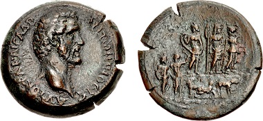 Lot 161: The Judgment of Paris. Egypt, Alexandria. Antoninus Pius, AD 138-161. Drachm, dated RY 5 (AD 141/142). Extremely rare. Ex G. M. Staffieri Collection. Sold for $39,000.