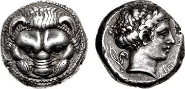 Lot 327: Bruttium, Rhegion. Tetradrachm, circa 415/0-387 BC. Ex Eddé and Gillet Collections. Sold for $90,000.