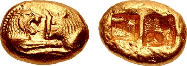 Lot 501: Kings of Lydia. Kroisos. Stater, circa 564/53-550/39 BC, Sardes mint. Heavy standard. Regular issue. Sold for $132,000.