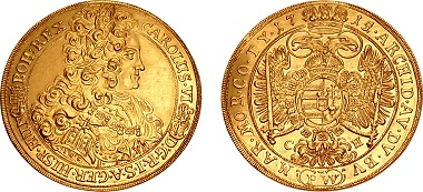 Lot 1063: Hungary, Holy Roman Empire. Károly III (VI), 1711-1740. 10 Dukat, Pozsony (Pressburg / Bratislava) mint, 1715. Paul Wodrich, mintmaster. Unique. From the Jonathan P. Rosen Collection. Sold for $444,000.