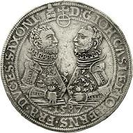 Los 25: Sachsen-Alt-Gotha (Coburg-Eisenach). Johann Casimir und Johann Ernst, 1572-1633. Doppelter Reichstaler 1587, Saalfeld. Dickabschlag von den Talerstempeln. Vermutlich 2. bekanntes Exemplar. Gutes sehr schön, von größter Seltenheit.