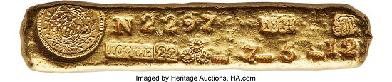 Lot 32141: The King of Vila Rica Gold Ingots – Ex Huntington. João Prince Regent. Massive gold Ingot of Vila Rica 1814. 99mm X 19mm. 217.90 grams.