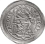 Abb. 8: ZÜRICH. 2 Dukaten o. J. (1588-1600, Münzmeister Hans Ulrich III. Stampfer). Felix und Regula von vorne. Rv. Karl der Große auf seinem Thron sitzend. Hürl. 119 (dieses Exemplar). HMZ 1136. Aus der kommenden Auktion Leu Numismatik AG, Zürich 88 (2003), 1851. Schätzung 30.000 CHF. Zuschlag 26.000 CHF.