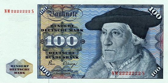 100 DM-Schein, wie er zwischen 1961 und 1995 in der BRD umlief.