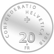 Switzerland / 20 CHF / Silver .835 / 20g / 33mm / Design: Vito Noto / Mintage: 30,000 (uncirculated), 5,000 (Proof).