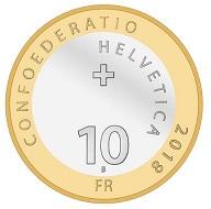 Switzerland / 10 CHF / copper-nickel (core), aluminium-bronze (ring) / 15g / 33mm / Design: Jenny Leibundgut / Mintage: 29,000 (uncirculated), 5,500 (Proof).