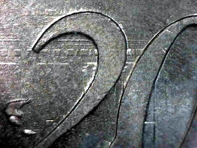 Lichtenrader Prägung an 20-Cent Deutschland. Teile der nationalen Bildseite sind sichtbar. Schätzung: 50 Euro.