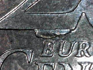 Großer Stempelausbruch: 20-Cent Belgien 2002. Schätzung: 2 Euro.
