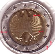 2-Euro 2002 (Deutschland) mit Dezentrierung. Schätzung: 40 Euro.