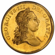 A 1770 gold 5 Guineas coin of George III, Hanover King (1760-1820), that is one of the rarest coins of this denomination in the English series. Photo credit: Phil Arnold/Professional Coin Grading Service.