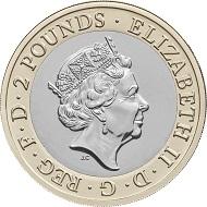 United Kingdom / 2 GBP / Inner: Cupro-nickel; Outer: Nickel-brass / 12.00g / 28.40mm / Design: Jody Clark (obverse) and Rhys Morgan (reverse).