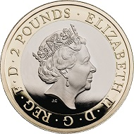 United Kingdom / 2 GBP / Inner: Cupro-nickel; Outer: Nickel-brass / 12.00g / 28.40mm / Design: Jody Clark (obverse) and Thomas T. Docherty (reverse).