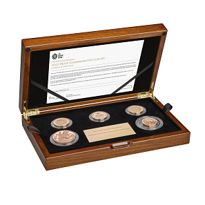 The 2018 United Kingdom Gold Proof Coin Set in case.