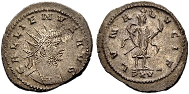 Gallienus. Antoninian, Antiochia. Rev. LVNA LVCIF Luna Lucifera with crescent diadem walking r. holding a burning torch, in exergue PXV. From the Weder collection. Estimate: 75 euros. From Münzen & Medaillen GmbH 46 (15 February 2018), No 944.