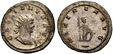 Gallienus. Antoninian, Antiochia. Rev. MINEREA (sic!) AVG Minerva with spear and shield standing r., a branch in the exergue. From the Weder collection. Estimate: 65 euros. From Münzen & Medaillen GmbH 46 (15 February 2018), No 951.
