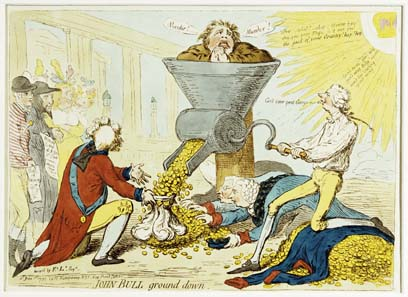 James Gillray (1757-1815), John Bull ground down, 1795.