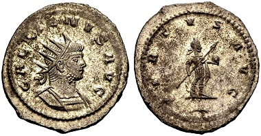 Gallienus. Antoninian, Antiochia. Rev. VIRTVS AVG The emperor standing r. holding spear and globe, a branch in the exergue. From the Weder collection. Estimate: 60 euros. From Münzen & Medaillen GmbH 46 (15 February 2018), No 959.
