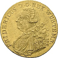 No. 2123: Wurttemberg. Frederick II / I, 1797-1816. Ducat 1808. Very rare. Extremely fine / extremely fine +. Estimate: 15,000 euros.