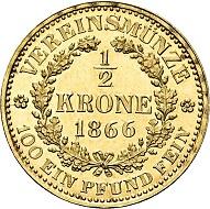 No. 2291: Austro-Hungary. Franz Joseph, 1848-1916. 1/2 vereinskrone 1866, Vienna. Very rare. First strike. FDC. Estimate: 12,500 euros.
