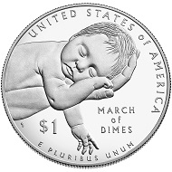 "One of the many coins Everhart designed was the United States March of Dimes silver dollar on the 60th anniversary of the Salk polio vaccine. The coin was last year's COTY ""Most Inspirational Coin""."