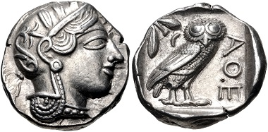Lot 175: Attica, Athens. AR Tetradrachm, circa 454-404 BC. Near EF, well centered. Estimate: 1,000 USD.