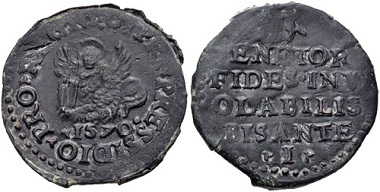 Lot 732: Italy. Venice. Coinage struck during the Siege of Cyprus. CU Bisante ossidionale. Rare. Estimate: 100 USD.