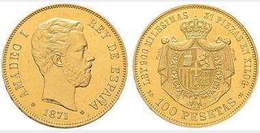 Lot 4409: Amadeo I. Madrid. 100 pesetas. 1871*18-71. SDM. Starting price: 100,000 euros. Realized: 164,400 euros.