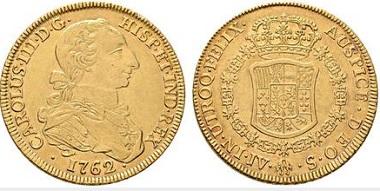 Lot 4182: Carlos III. Sevilla. 8 escudos. 1762. Starting price: 40,000 euros. Realized: 58,800 euros.