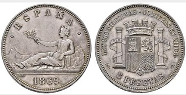 Lot 4405: Provisional Government. Madrid. 5 pesetas. 1869*18-69. SNM. Starting price: 22,500 euros. Realized: 34,800 euros.